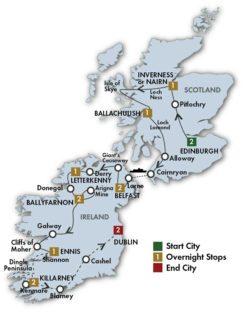 Scots Irish Tour Map